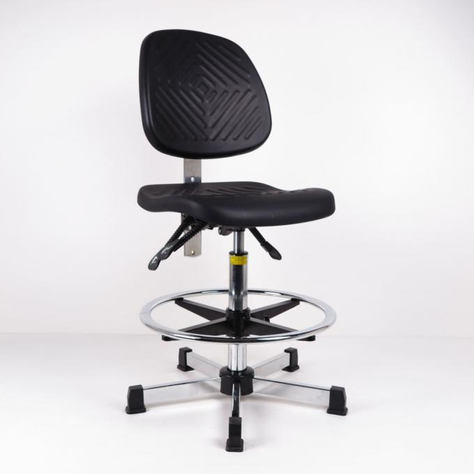 Black Polyurethane Industrial Production Chairs With Foot Ring For High Workbench