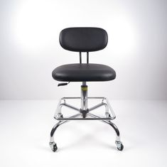China Black PU Leather Ergonomic ESD Chairs Work Office Conductive Chair With Foot Rest factory