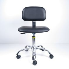 Anti Static Ergonomic Lab Chairs Artificial Leather With Black Plastic Cover