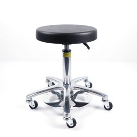 China Black Anti Static Stool With 5 Legged Aluminium Base By Foot Activated Seat Height factory