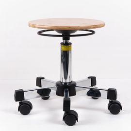 China Round Wood Laboratory Adjustable Workbench Stool Medium Bench Height Steel Base factory
