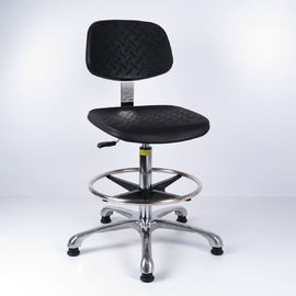 China Aluminium Base Polyurethane Industrial Work Chairs ESD Black For High Workbench factory