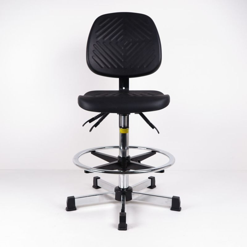 Black Polyurethane Industrial Production Chairs With Foot Ring For High Workbench supplier