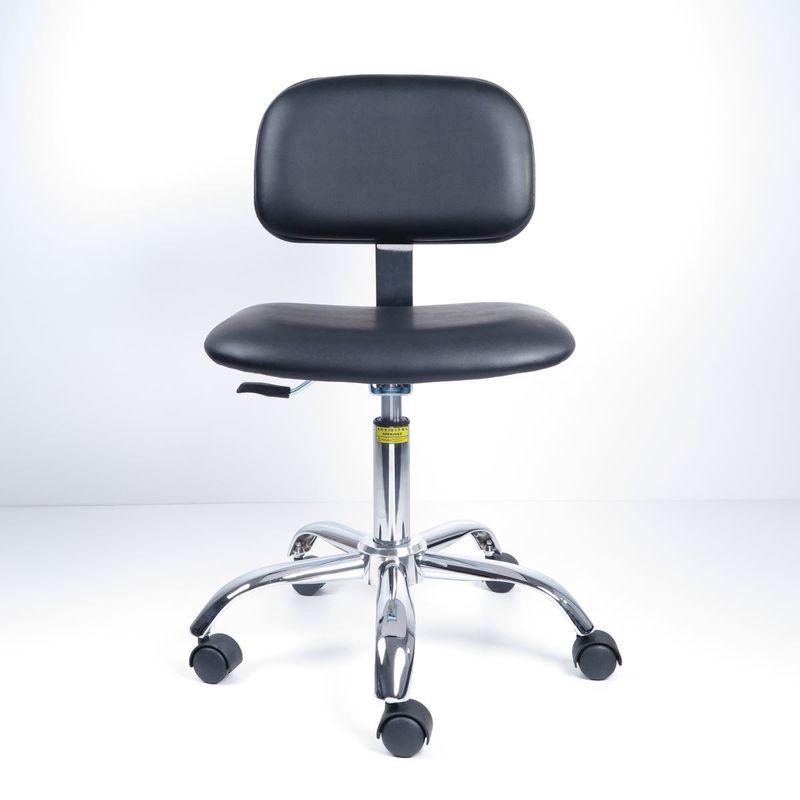 Anti Static Ergonomic Lab Chairs Artificial Leather With Black Plastic Cover supplier